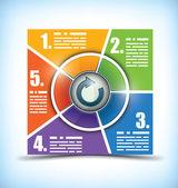 5 etapa carta cambia de color de flujo de trabajo — Vector de stock
