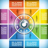 Sekiz rengi değişen iş akışı grafiği sahne — Stok Vektör