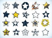 Colección de estrellas handdrawn — Vector de stock