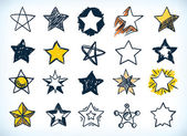 Collection of handdrawn stars — Vector de stock