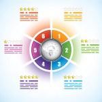 具有六个部分的业务关系图模板 — 图库矢量图片