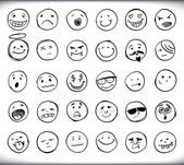 Hand drawn emoticons — Stock Vector