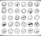 Hand drawn emoticons — Stock Vector