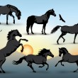 Horse silhouettes — Stock Vector #26723599