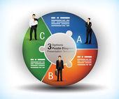 3 sided wheel chart — Stock Vector