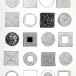 Stock Vector: Doodled circles and squares