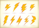 Doodled lightning bolts — Stock Vector