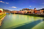 Embankment Salzach in Salzburg — Stock Photo