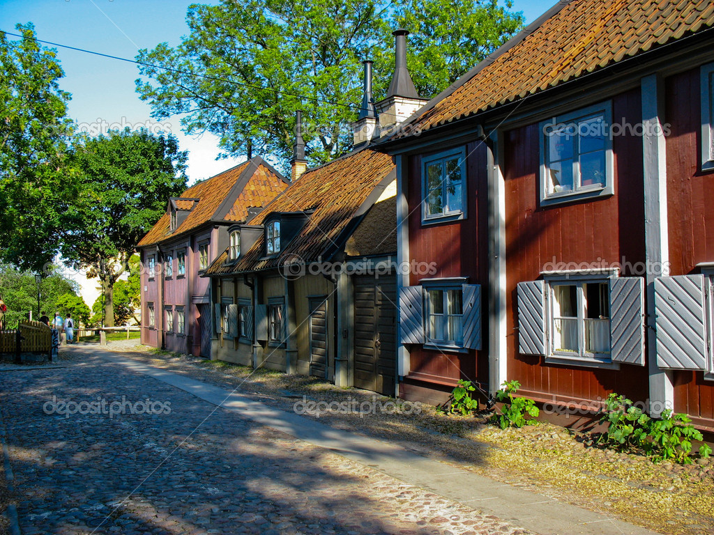 Wooden Houses In Stockholm Streets Sweden Stock Photo