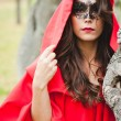 Stock Photo: Masked Red Riding Hood