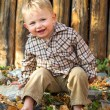 Happy boy in autumn leaves - Stock Photo