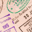 Passport travel stamps - Stock Photo
