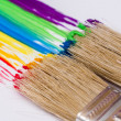 Foto de Stock  : Paintbrushes painting rainbow colors