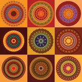 Disegno mandala hennè colorato — Vettoriale Stock