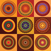 色彩缤纷的指甲花曼陀罗设计 — 图库矢量图片
