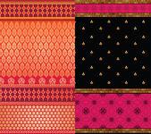 Frontières de sari en soie indienne — Vecteur