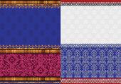 Fronteras de la india sari de seda — Vector de stock