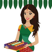 Young Indian woman holding box of Indian sweets — Stock Vector