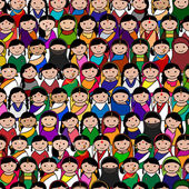 Big crowd of Indian women vector avatar illustration — Stock Vector
