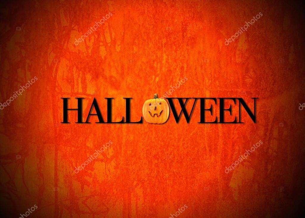 Illustration with a Halloween pumpkin with orange background.  Foto de Stock   #12820649