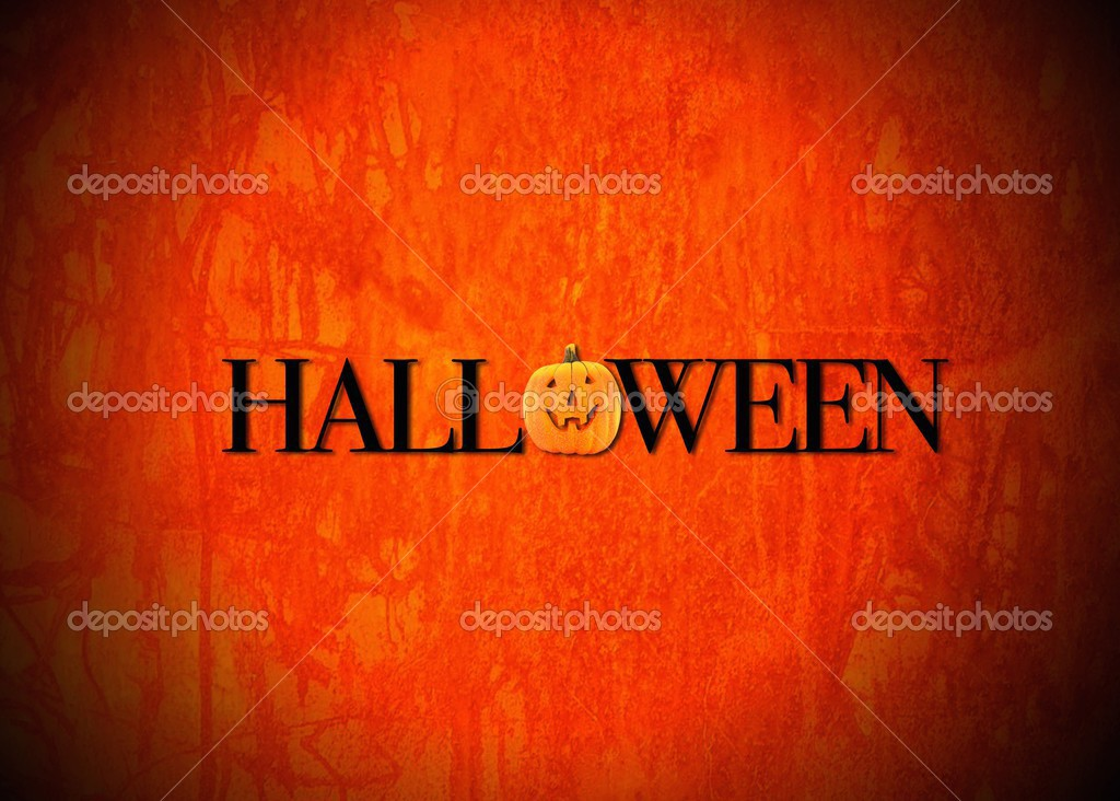 Illustration with a Halloween pumpkin with orange background.  Photo #12820649