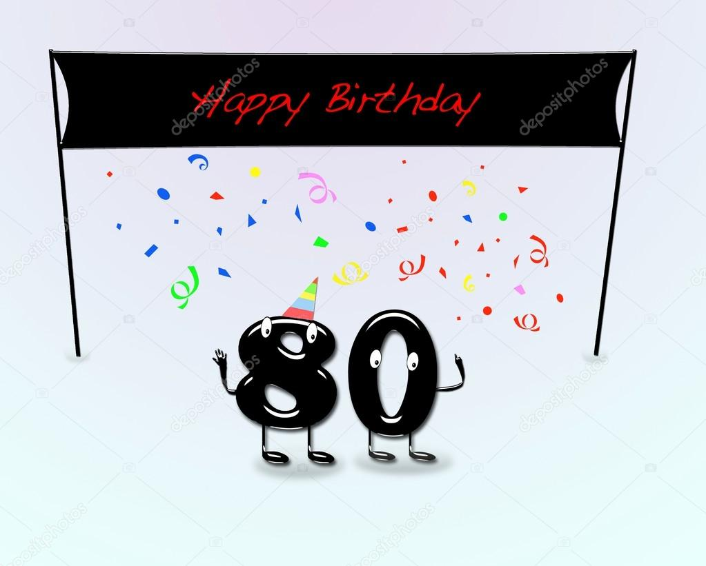 Illustration for 80th birthday party with cartoon numbers. — Stock Photo #13289888