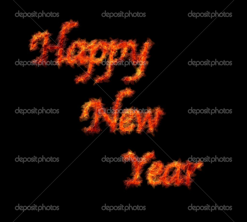 Illustration with phrase Happy new year in flame. — Stock Photo #15707683