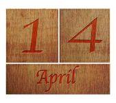Wooden calendar April 14. — Stock Photo