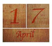 Wooden calendar April 17. — Stock Photo