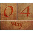 Wooden calendar May 4. — Stock Photo