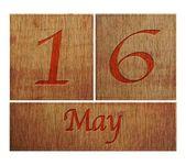 Wooden calendar May 16. — Stock Photo