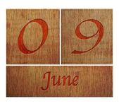 木製カレンダー 6 月 9 日. — ストック写真