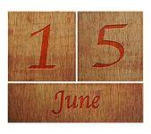 Wooden calendar June 15. — Stock Photo