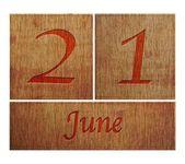 Drewniane kalendarz 21 czerwca. — Zdjęcie stockowe