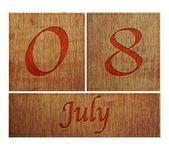 Wooden calendar July 8. — Stock Photo