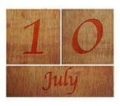 Wooden calendar July 10. — Stock Photo