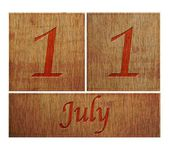 Wooden calendar July 11. — Stock Photo