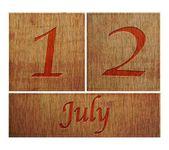 Wooden calendar July 12. — Stock Photo