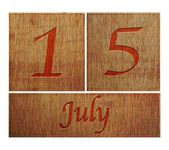 Trä kalender 15 juli. — Stockfoto