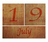 Wooden calendar July 19. — Stock Photo