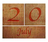Wooden calendar July 20. — Stock Photo