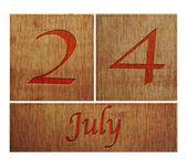 Wooden calendar July 24. — Stock Photo
