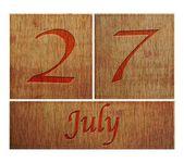 Wooden calendar July 27. — Stock Photo