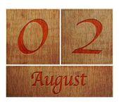 Wooden calendar August 2. — Stock Photo
