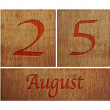 Stock Photo: Wooden calendar August 25.