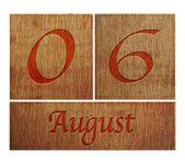 Wooden calendar August 6. — Stock Photo
