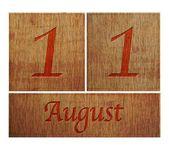 Wooden calendar August 11. — Stock Photo