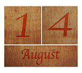 Wooden calendar August 14. — Stock Photo