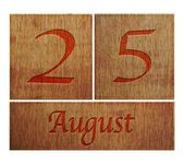 Wooden calendar August 25. — Stock Photo
