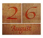 Wooden calendar August 26. — Stock Photo